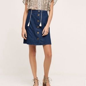 Anthropologie Denim Button Down Skirt